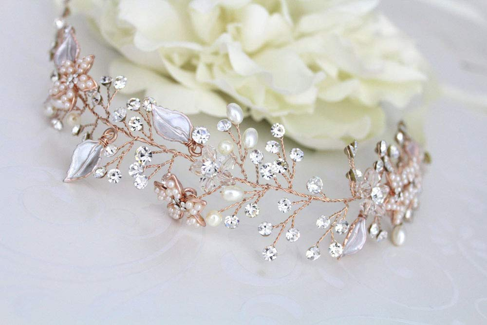 ROSE ORO FOGLIA DI VITE Fascia Tiara Nuziale Capelli Vintage Fiori Perle Matrimonio Festa