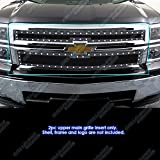2014 billet grill chevy silverado - APS Fits 2014-2015 Chevy Silverado 1500 Stainless Black Rivet Mesh Grille #CL5177H