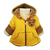 kids Clothes Jacket - SODIAL(R)Baby Girls Boys kids Clothes Jacket Winter Warm Coat Toddlers Hoodies Coat Yellow 4-5Years