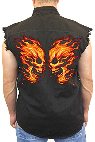 (Men's Sleeveless Denim Shirt Flame Skull Face Off Biker: Black)