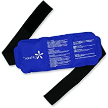 """Reusable Ice Pack with Strap by TheraPAQ - Soft & Flexible Gel Pack for Hot & Cold Therapy - Best as Heat Pad or Cold Wrap for Back, Knee, Waist, Shoulder, Ankle, Calves and Hip (Large pack: 14"""" X 6"""")"""