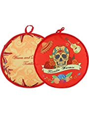 COAWG 12 Inch Tortilla Warmer Insulated and Microwaveable Fabric Holder Pouch for Corn or Flour Taco, Pizza, Bread Keeps Warm up to One Hour, Pack of 2 (Red+Yellow)