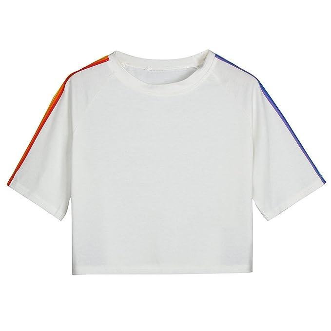 Ropa Camisetas Mujer, Camisas Mujer Verano Elegantes Rainbow Printed Tallas Grandes Camisetas Mujer Manga Corta