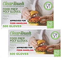 Disposable Clear Touch Gloves- Disposable Food Safety, Cooking Preparation Gloves - Latex & Powder Free - FDA Approved for Food Contact