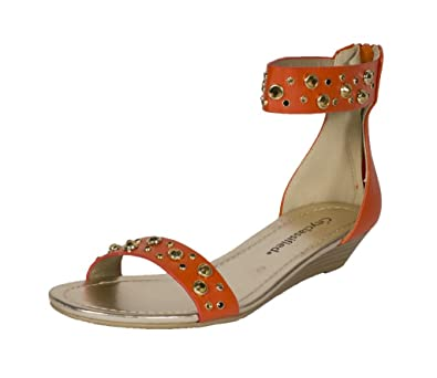 281693762ebd1 City Classified Womens Protip Open Toe Diamond Studded Ankle Strap Flat  Sandal