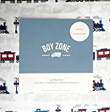 Trains Engines Cabooses Railroad Crossings, Boy Zone 4 Piece Full Size Cotton Sheet Set, Red Gray Black Blue on White