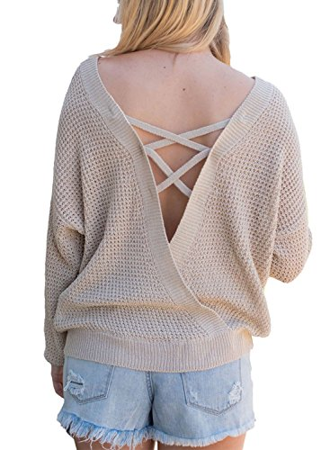 Asvivid Women's Long Sleeve Criss Cross Lace Up Casual Winter Knitted Pullover Sweaters L Apricot ()