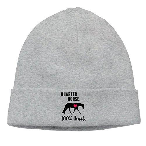 TinaTN Quarter Horse 100% Heart Unisex Wool Flock Cotton Knit Winter Warm Ski Hat Beanie - Quarter Winter Horse