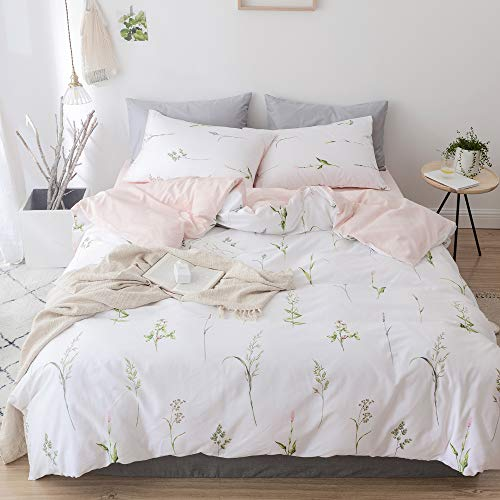 Floral Bedding - EnjoyBridal Duvet Cover, Floral Girls Bedding Set Twin, Plants Cotton Comforter Cover Twin for Kids Women, Allergy Protector White Teens Bedding Collection Twin with Zipper Closure, No Comforter
