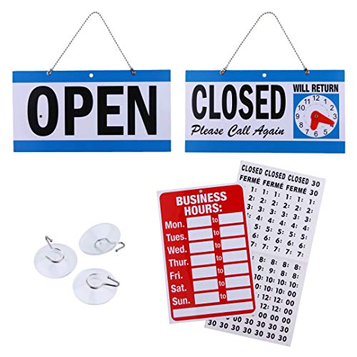 Business Hour Open Closed Sign - Bundle of Office Hours Sign Will Return Clock with Suction Cups for Door Window Businesses Stores Restaurants Bars Retail Barbershop Salon Shops (Complete Set)