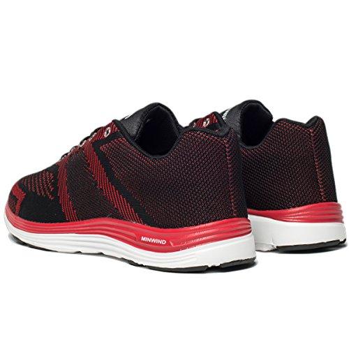 Leichte Laufschuhe Herren stricken atmungsaktive Sportschuhe Outdoor-Turnschuhe Schwarz Rot