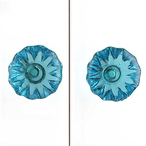 - IndianShelf Handmade 8 Piece Glass Blue Paneled Sides Artistic Drawer Knobs/Cabinet Pulls