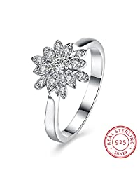 BALANSOHO 925 Sterling Silver Cubic Zirconia Flower Women Wedding Band Engagement Anniversary Cluster Ring Size 8