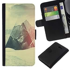 LECELL--Cuero de la tarjeta la carpeta del tirón Smartphone Slots Protección Holder For Sony Xperia M2 -- Geometría de la montaña Nevado --