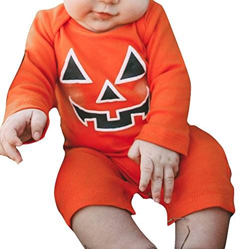 Mask Costume Utah (Gillberry Infant Kid Baby Girl Boy Halloween Pumpkin Devil Romper Coverall Teddy Leotard Rompers (6M, Orange))