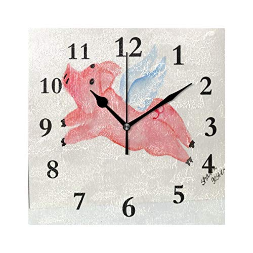 ZHOUSUN Personalized Non Ticking Silent Clock Art Living Room Kitchen Bedroom for Home Decor Fantastic Pig Square Acrylic Wall Clock