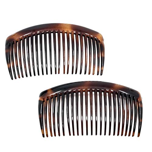 Camila Paris French Side Combs Large Set of 2 Rounded, Tortoise Shell Flexible Durable Cellulose, Strong Hold Grip Hair Clips for Women, No Slip Styling Girls Hair Accessories, Made in France