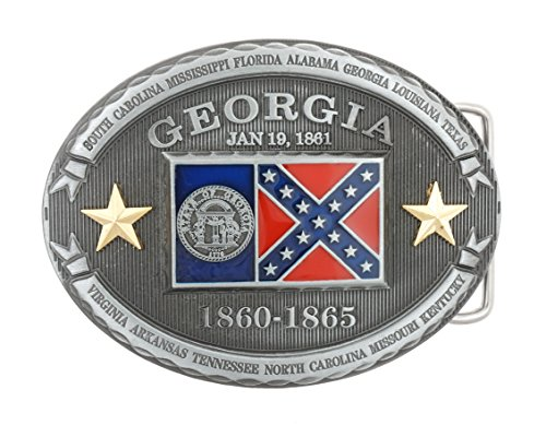 Georgia GA State Flag Western Metal Belt Buckle