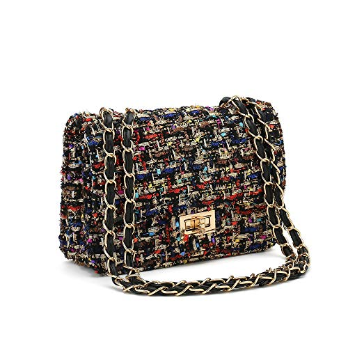 Women's Tweed Crossbody Bag, New style Chain Messenger Bag Small Shoulder Bag leather Clutch