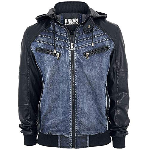(Mens Classic Denim Hooded Style Urban Bomber Leather Jacket)