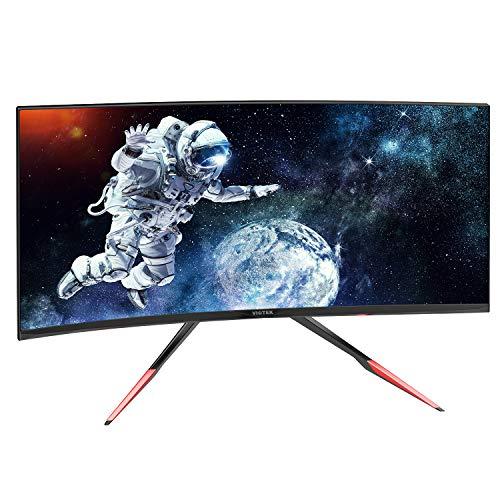 VIOTEK GN35DR 35-Inch Ultrawide Curved Gaming Monitor, 144Hz 21:9, HDMI 2.0 DVI DP 1.2 w/Adjustable 'Rage-Proof' Battle Stand