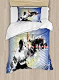 Ambesonne Hockey Twin Size Duvet Cover Set, Retro Halftone Style Backdrop with Player Figure Snowflakes and Cityscape Silhouette, Decorative 2 Piece Bedding Set with 1 Pillow Sham, Multicolor