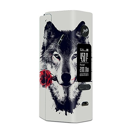 Skin Decal Vinyl Wrap for Wismec Reuleaux RX 2/3 Vape Mod Skins Stickers Cover / Wolf with rose in mouth