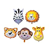 [Big Size] DLOnline 5PCS Tropical Hawaii Animals Balloons Birthday Party Decorations (Tiger, Lion, Monkey, Zebra, Giraffe) About 18 inches