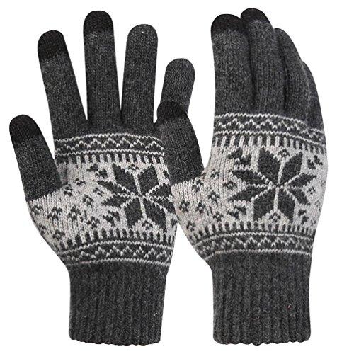 Touch Screen Gloves Unisex Wool Warm gloves ( Grey) - 8