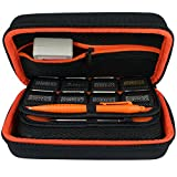 TAKECASE New Nintendo 3DS XL and 2DS XL Carrying Case - Fits Wall Charger - Includes XL Stylus, 16 Game Storage, Accessories Pocket, Hard Shell and Screen Cloth - Orange/Black