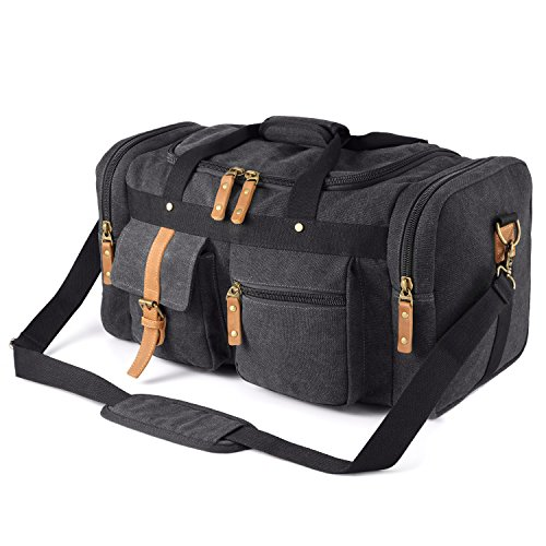 Plambag Oversized Canvas Duffel Bag Overnight Travel Tote Weekend Bag Dark Gray