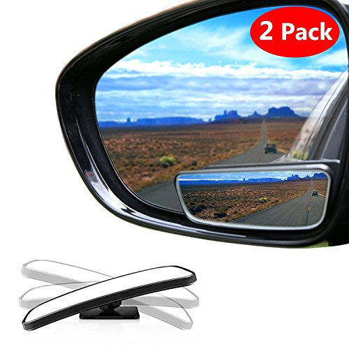 Meipro 360/° Rotate Blind Spot Mirror,Wide Angle Adjustable Rear View Mirror HD Glass Convex Back Mirror for Car SUV Universal Fit Stick On Lens 2pcs pack
