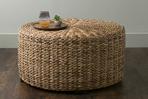 East At Main Langdon Brown Round Abaca Coffee Table, 35.5×35.5×18.5