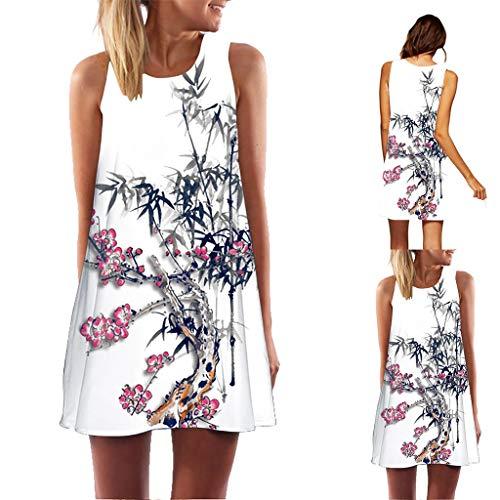 (3D Printed Dresses Forthery Women Summer Casual Vintage Boho Beach Swing Sundress Mini Dress Tank Short Sleveless Dress(White C,L=US 8))