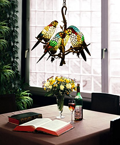 Makernier Vintage Tiffany Style Stained Glass Tree Branches 5 Arms Parrots Chandelier ()