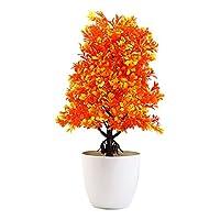 Acamifashion Home Fake Plants Decor 1Pc Potted Artificial Tree Plant Bonsai Stage Garden Wedding Home Party Decor - Orange