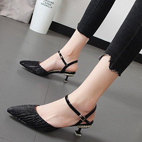 Moda Puntiaguda KPHY Zapatos Cm De Sandalias de Boca Superficial Tacon De de Hembra Tacon mujerEn Verano black Fino Zapatos 8 Baotou OPdqxrWBOw