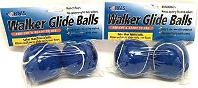 RMS Walker Glide Balls 2-Pair 6 Color Choices (Blue)