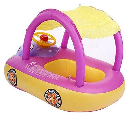 Homespun Float Light Purple Sunshade Boat Seat Inflatable Swim Swimming Ring Pool Raft Baby Kid Gift