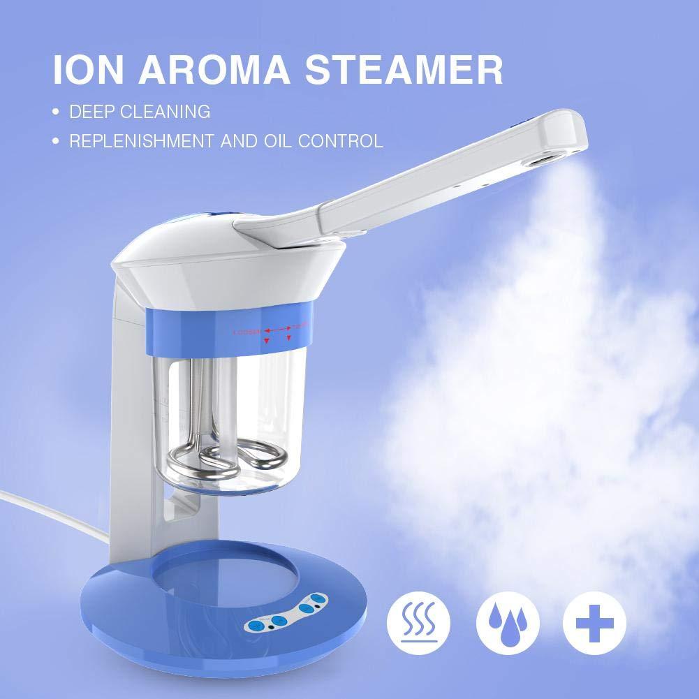 Nano Ionic Facial Steamer with Hot Steam Spray & Ion Vapour Ozone Steamers  Functions Face Care Portable Home Use Aromatherapy Humidifier 360°Rotation
