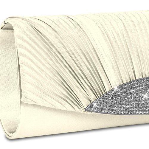 strass de ivoire décoratifs plusieurs TA289 Sac femme coloris CASPAR à pour avec Clutch soirée main qBFAZz