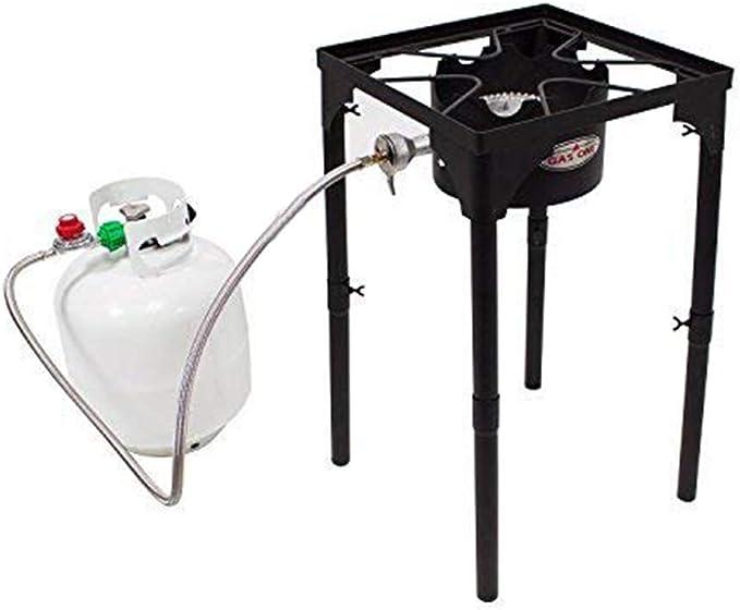 GasOne Portátil Propane 100000-BTU de Alta presión Quemador único Camping Estufa y Acero Trenzado regulador con Patas Ajustables preparación de la ...