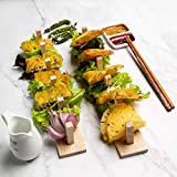 [set of 2]Stylish wooden Taco Holder Stand, Taco Truck Tray Style, Rack Holds Up to 5 Tacos Each, Stand Taco Rack for Hard or Soft Shell Tacos