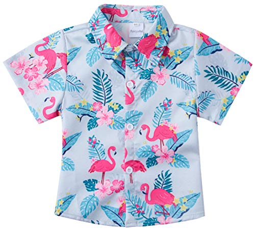 e241d8ef RAISEVERN Boys Button Down Shirts Casual Tropical Flamingo Graphic Cool  Button Up Dress Short Sleeve for