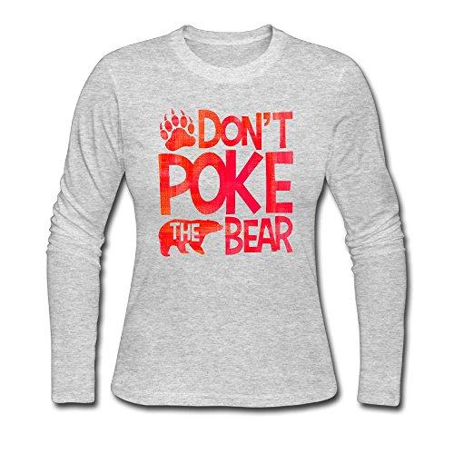 Bright Joe Don't Poke The Bear Women Long Sleeve Round Neck Cotton T-Shirt Top Christmas Gift S