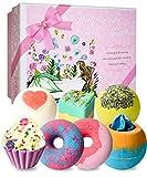 7 bath bombs, stntus bath bomb gift set, handmade spa bubble fizzies, shea cocoa butter moisturize,