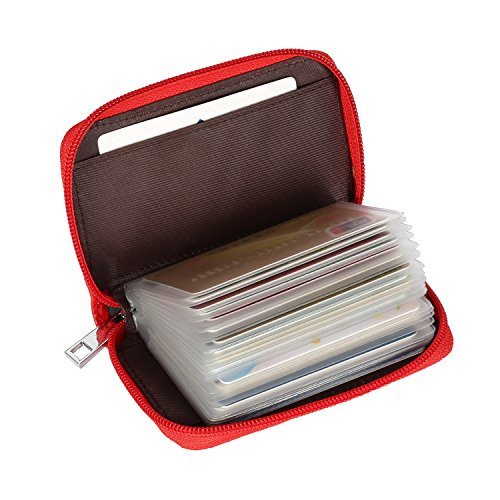 UPC 716294621929, Alimei Genuine Leather Credit Card Holder Zipper Wallet Card Organizer with 26 Card Slots (26 Card Red)