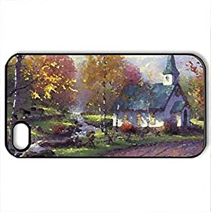 lintao diy The Aspen Chapel - Case Cover for iPhone 4 and 4s (Houses Series, Watercolor style, Black)