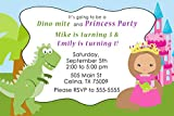 30 Invitations Green Pink Blue Dinosaur Princess Design Twins Siblings Joint Birthday Party Personalized Cards + 30 White Envelopes