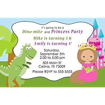 Amazon Com 30 Invitations Green Pink Blue Dinosaur Princess